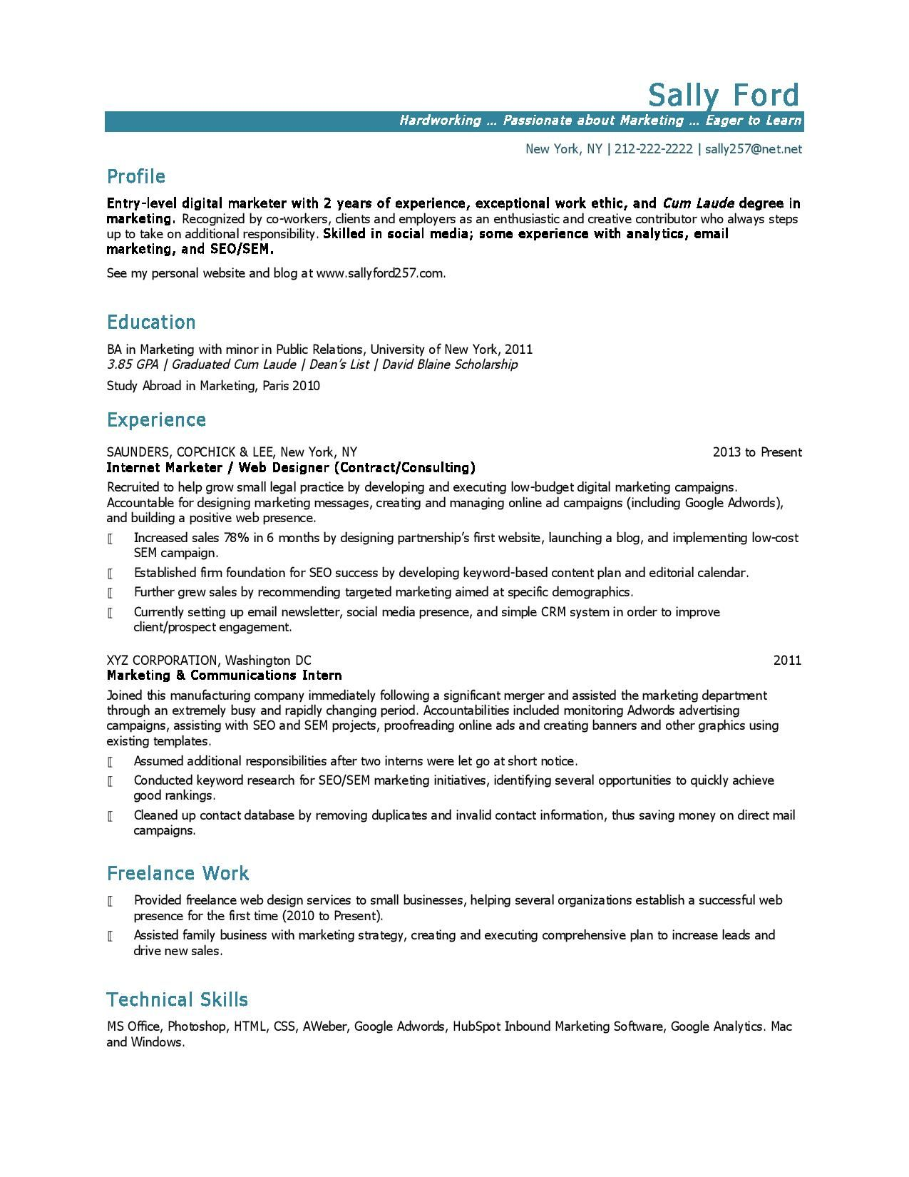 Marketing Resume Example Marketing Resume Samples Hiring Managers Will Notice  Home Design