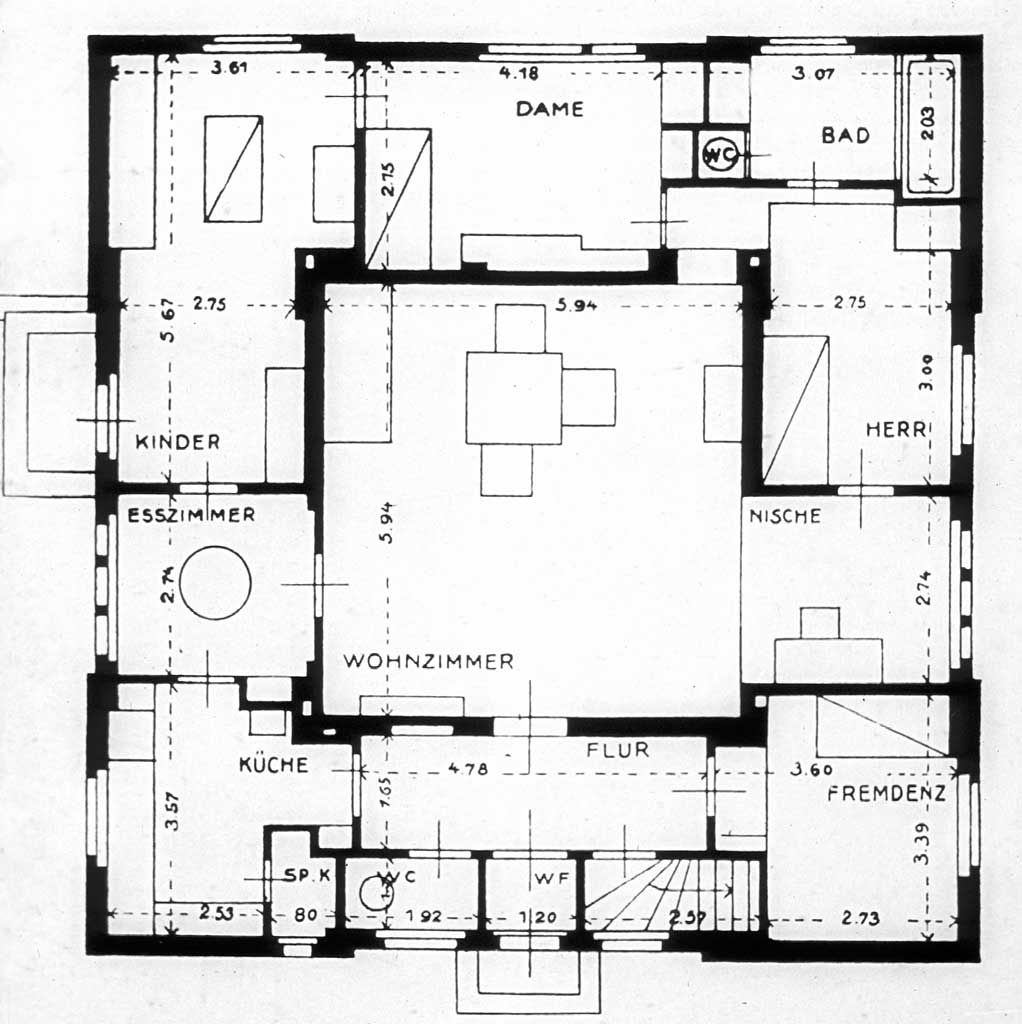 George Muche Bauhaus Model House Plan 1923 Love the