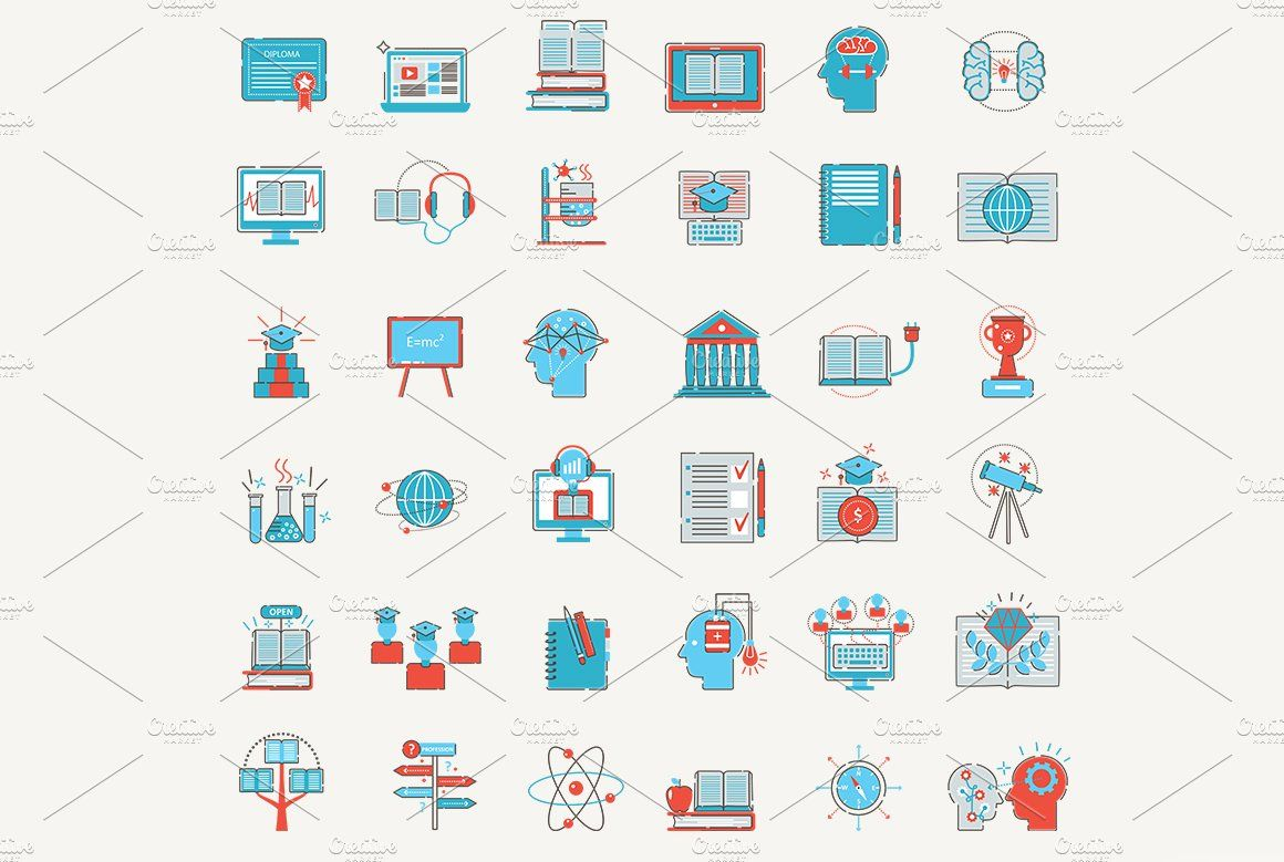 Modern Online Education Icons Education Icon Online Education