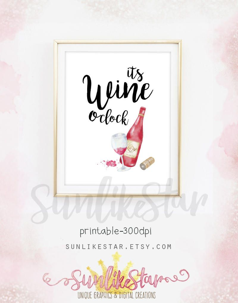 Printable wine wall art print watercolor wine poster wine decor