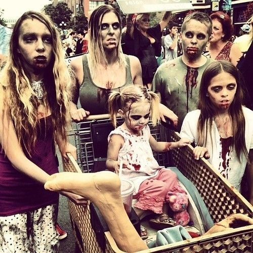 2014 Halloween Mdse Sightings In Stores: This Happy Zombie Family Just Taking A Trip To The Grocery
