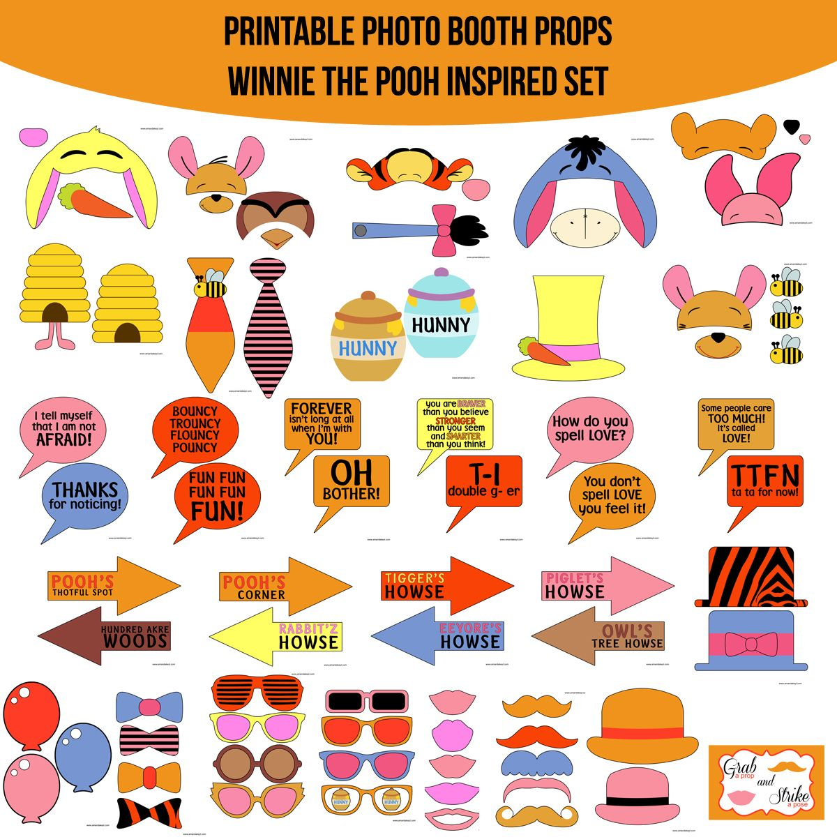Instant download winnie the pooh inspired printable photo booth instant download winnie the pooh inspired printable photo booth prop set amanda keyt diy photo voltagebd Gallery