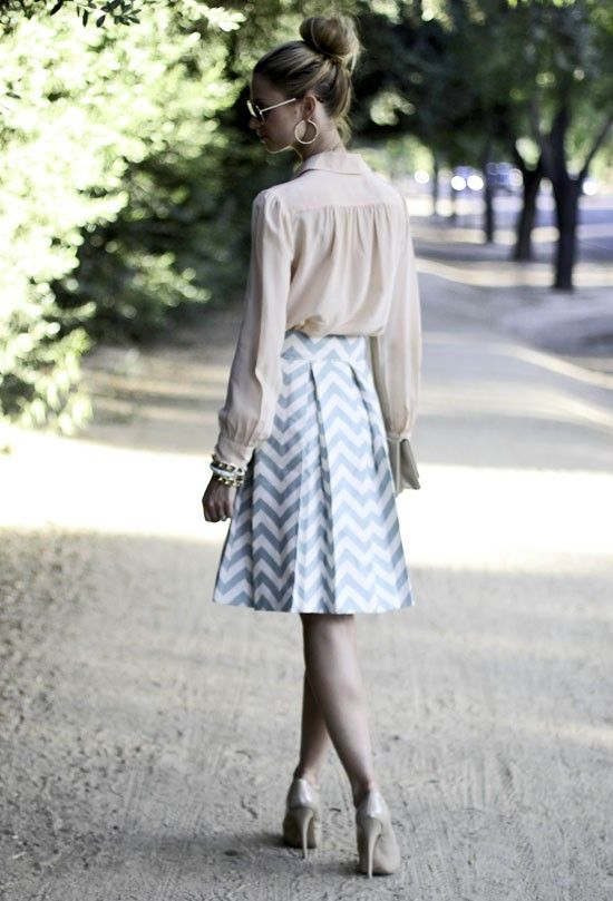 soft cream blush with slender chevron a-line skirt.  to be tall and slim..a girl can dream