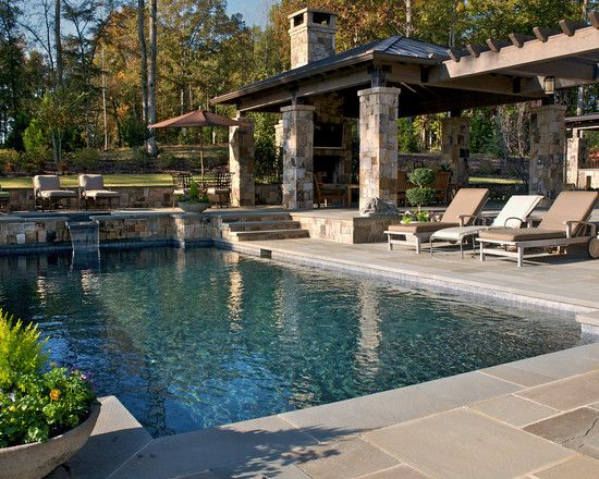 Tuscan Landscape Design Down Slope Pool Design Pictures