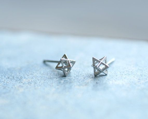 Tiny Star Stud Earring Polygon Or Double Pyramid Surgical Steel Post