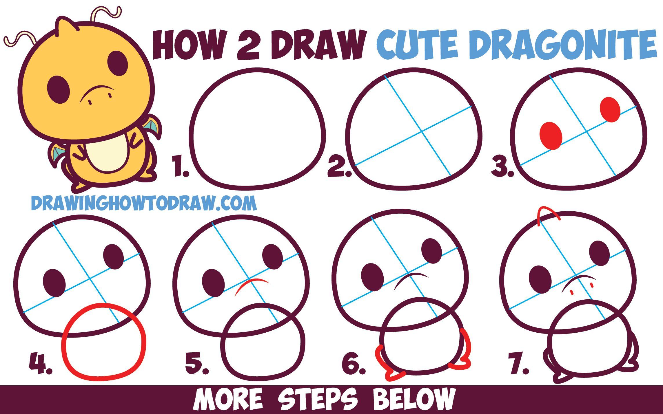 How To Draw Cute Dragonite Chibi Kawaii From Pokemon