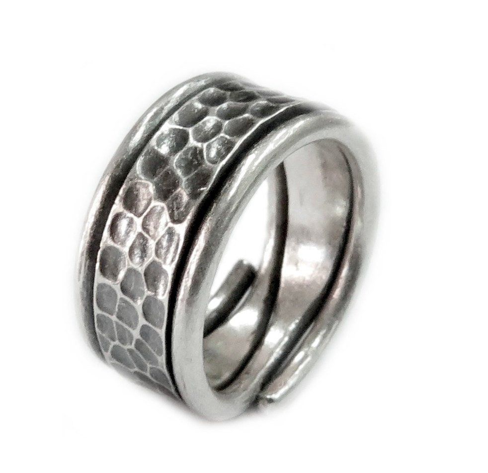 Sterling Silver Ring Wide Band Ring Oxidized Silver Ring Band Wide Silver Band Textured Silver Ring Flat Band Wide Silver Wedding Band