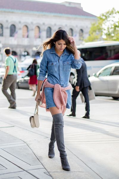16a69431163 Heather-gray-stuart-weitzman-boots-light-blue-denim-forever-21-romper