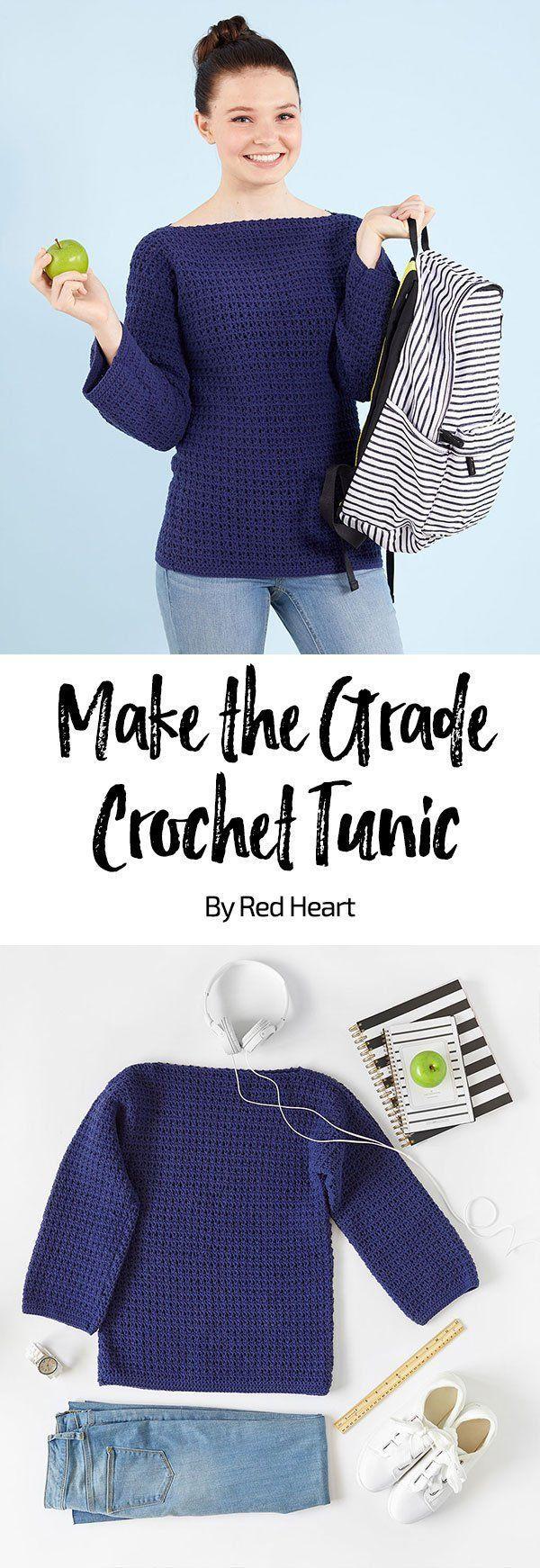 Make the Grade Crochet Tunic free crochet pattern in Amore yarn. This cozy sweat... - #Amigurumi #Amore #Cozy #crochet #free #Grade #pattern #sweat #tunic #yarn