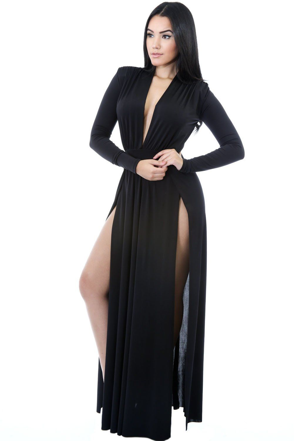 Black super classy long sleeves double slit long maxi dress by