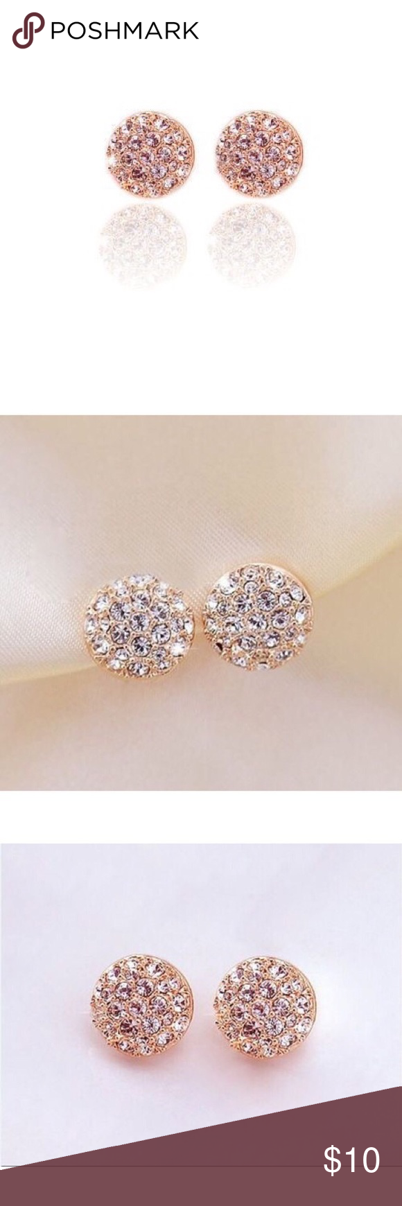 gold white design round stud disc studs pave circle infinite products disk diamond flat post earrings micro il fullxfull