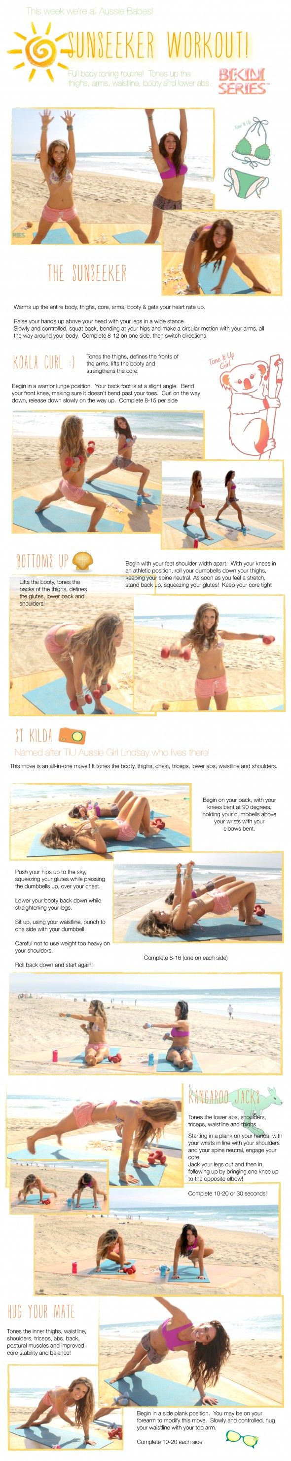 Love this sunshiny full body workout from the tone it up girls