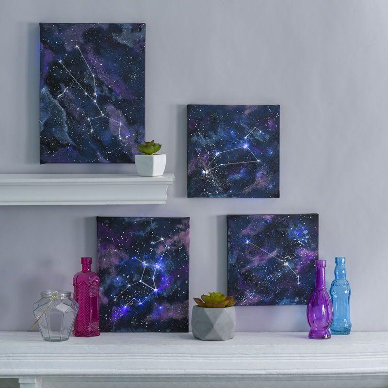 Zodiac Wall Art Diy Wall Art Canvas Art Astrology Zodiacs Constellation Wall Art Diy Wall Art Diy Canvas Wall Art
