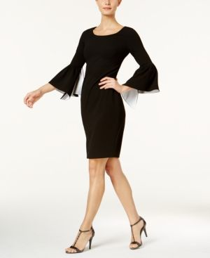 Calvin Klein Split Bell Sleeve Sheath Dress Black 16