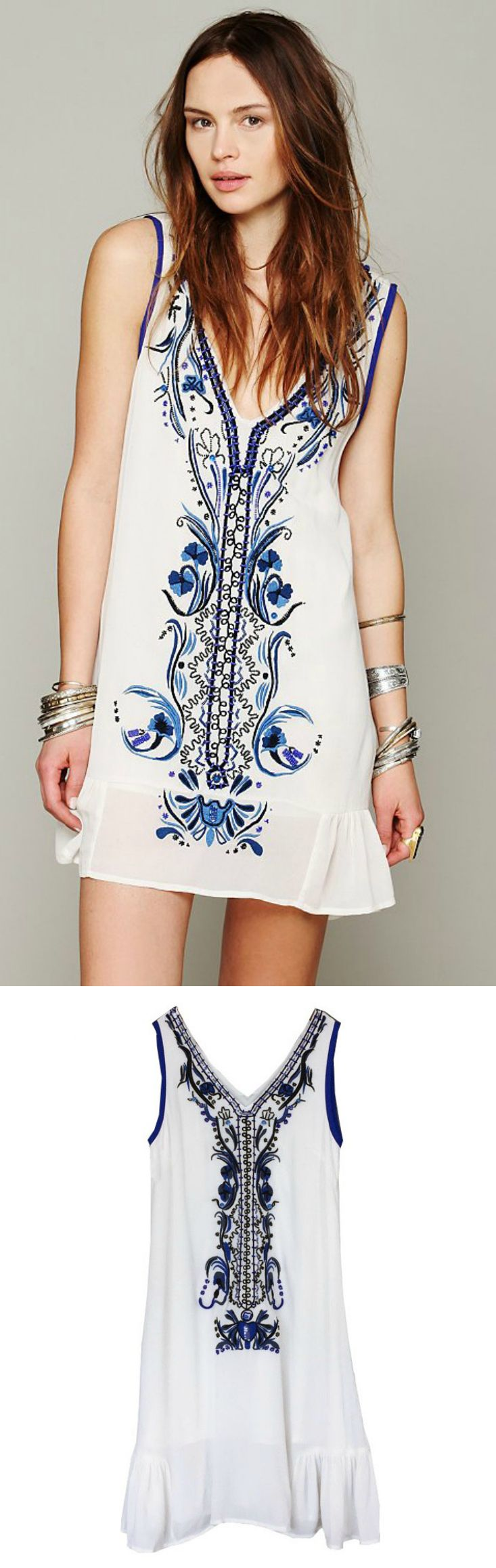 An Embroidered V Neck Dress in White is now available at ...