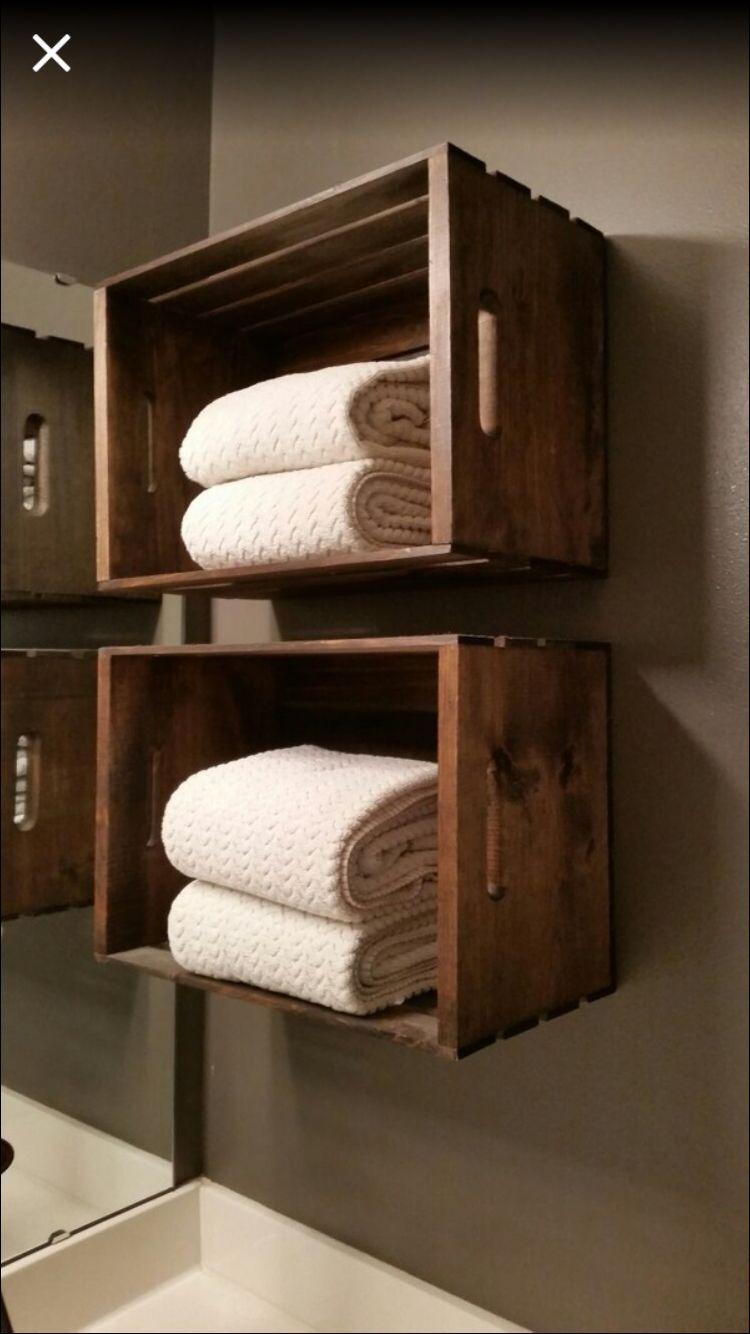Wooden Crate Used As Towel Storage In Bathroom Towel Storage Crate Storage Bathroom Towel Storage