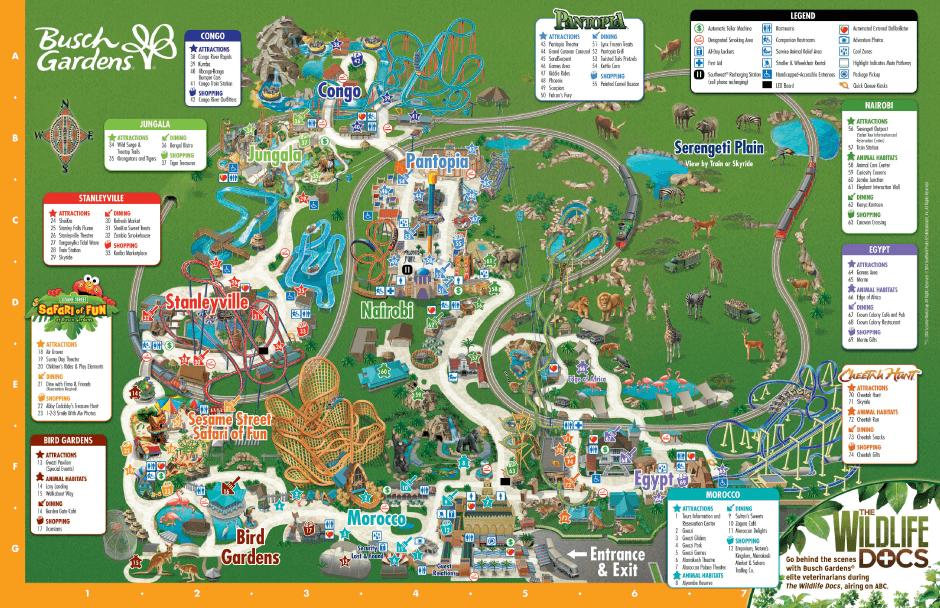 Map Of Tampa Florida Area.Park Map Busch Gardens Tampa Roller Coasters Pinterest Busch