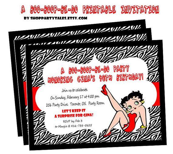 Betty Boop Zebra Print Printable Birthday Adult Party