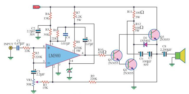50 watt Power Amp OTL by LM3900, 2N3055 | Audio amplifier, Electronic  schematics, Electronics circuitPinterest