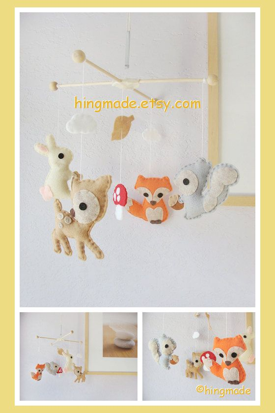 Baby Crib Mobile Forest Friends Woodland Friends Bunny