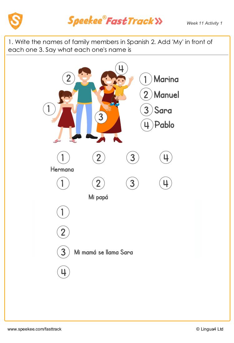 Meet The Family Spanish Printables Homeschool Spanish Printable Preschool Worksheets [ 1100 x 750 Pixel ]