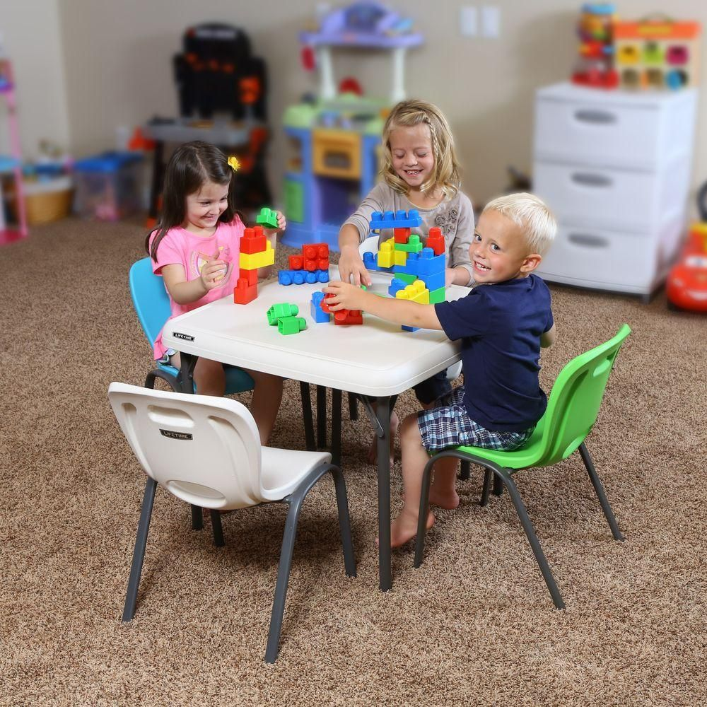 Awe Inspiring Lifetime Childrens 24 In W Square Almond Folding Table In Machost Co Dining Chair Design Ideas Machostcouk