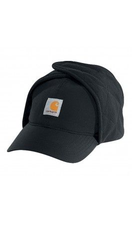 57f325f7e70 Carhartt insulated cap - Black - Chin strap with hook-and-loop closure for  warmth.  carhartt