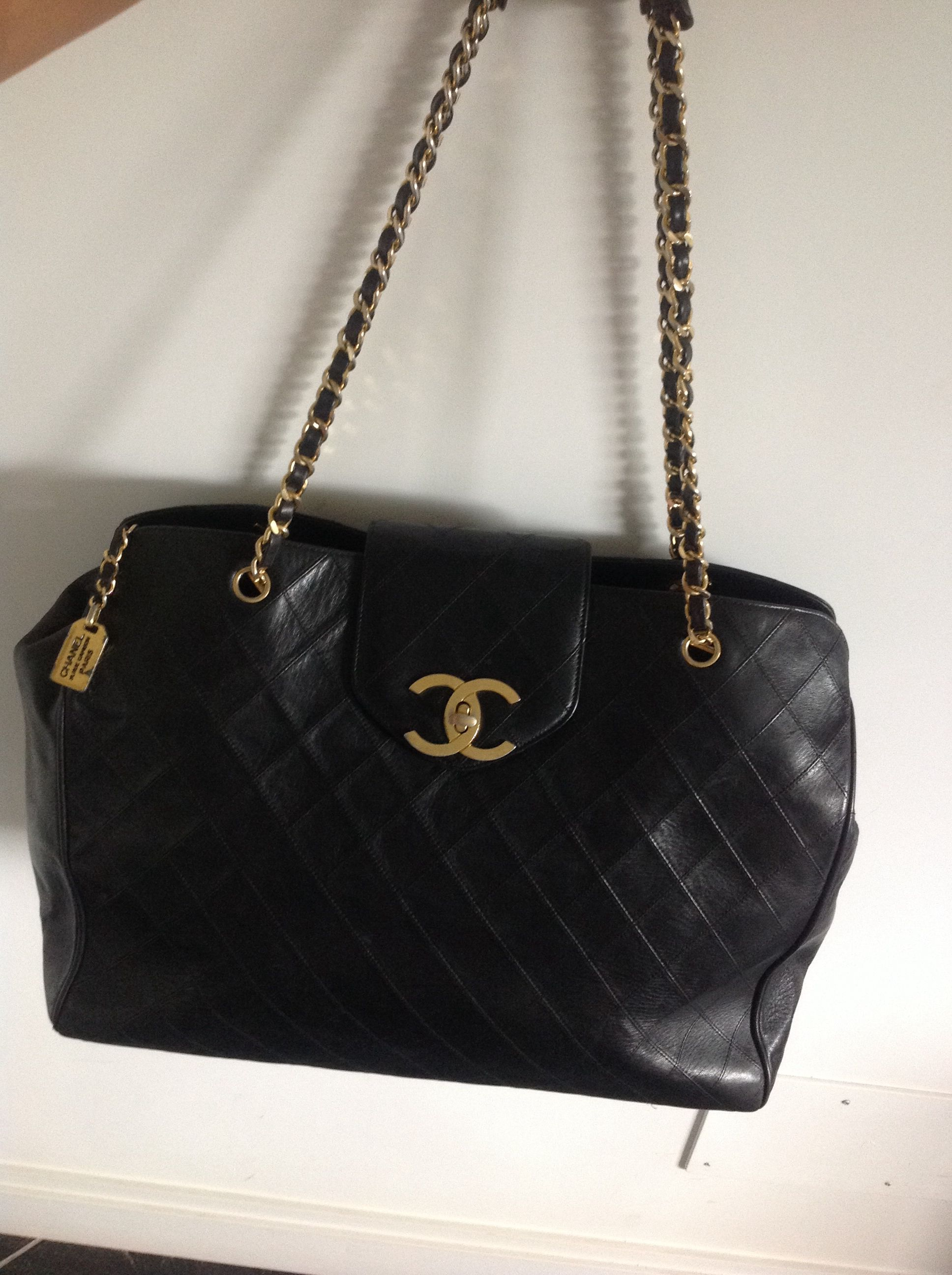 9d8a3a804 Vintage Chanel overnight bag, black diamond quilted lambskin with gold hdw  perfect for a weekend