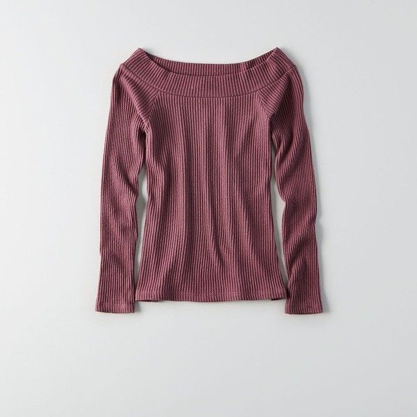 Don't Ask Why Off-The-Shoulder Sweater ($45) ❤ liked on Polyvore featuring tops, sweaters, red, off shoulder tops, red off shoulder top, ribbed sweater, purple sweater and red long sleeve top