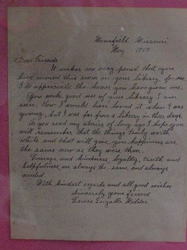 Handwritten letter, Laura Ingalls Wilder, May, 1950.