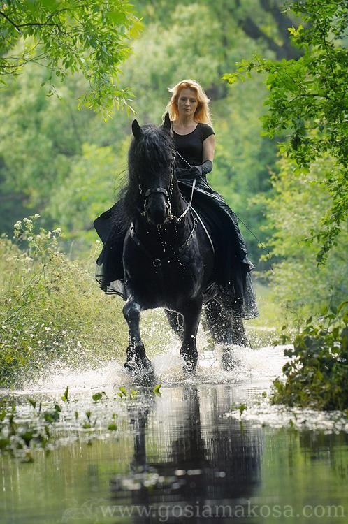 Olimpia & her friesian stallion Olke T - Gosia Mąkosa Equine Art & Photography