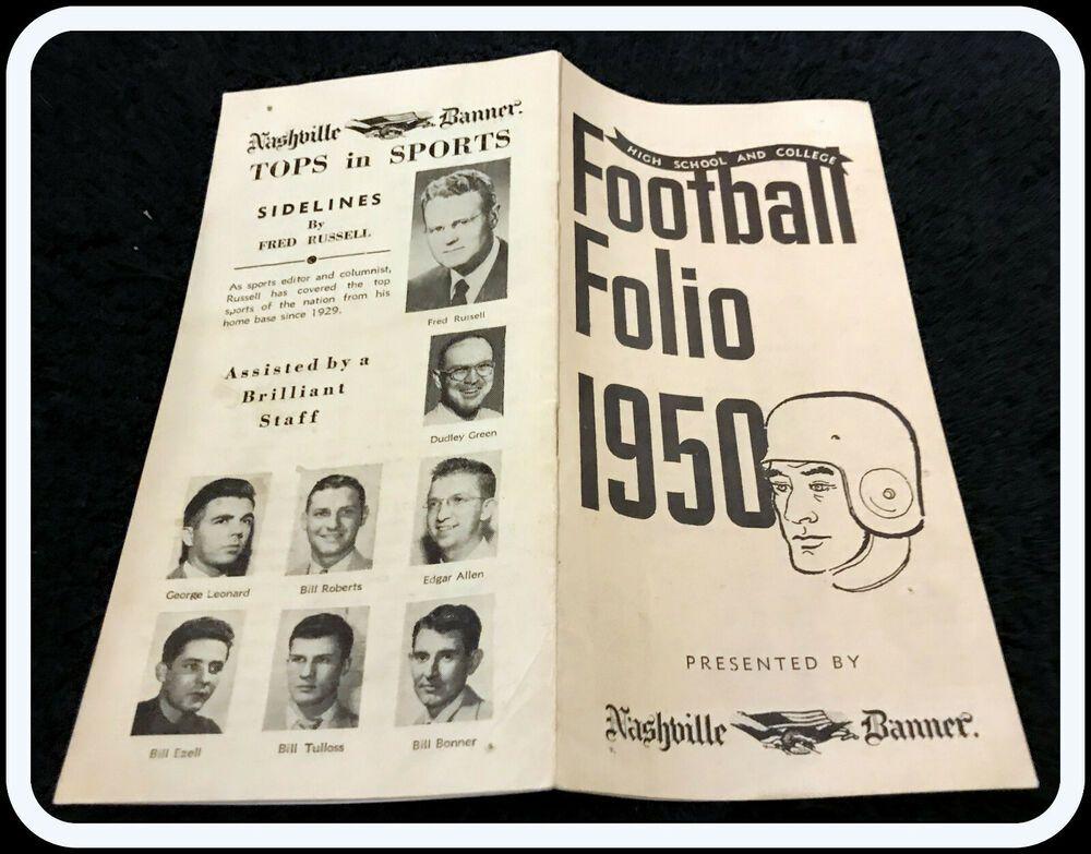 1950 NASHVILLE BANNER FOOTBALL FOLIO COLLEGE & HIGH SCHOOL