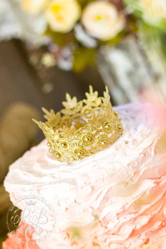 Gold RusticLace crown cake topperGOLD Wedding crown #wedding cake ...