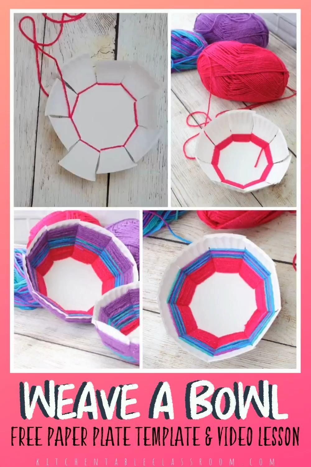 Use my free printable template to turn your paper plate into a woven bowl while you practice basic weaving skills.  Free video art lesson included in the post. #weavingforkids