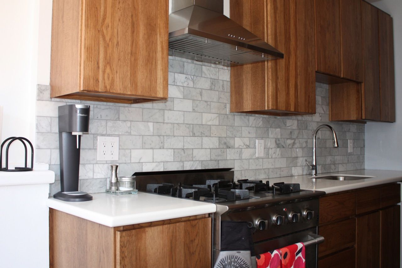 Rectangular Light Grey Tile Kitchen Backsplash Make It