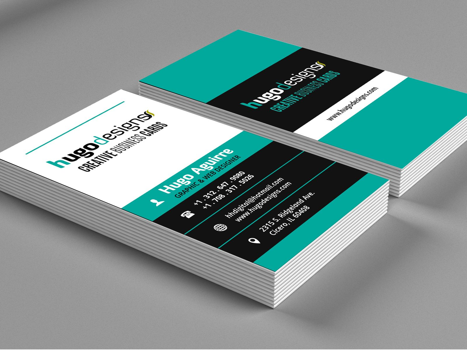 Bold & Contrasting Vertical Business Card Template | Creative ...
