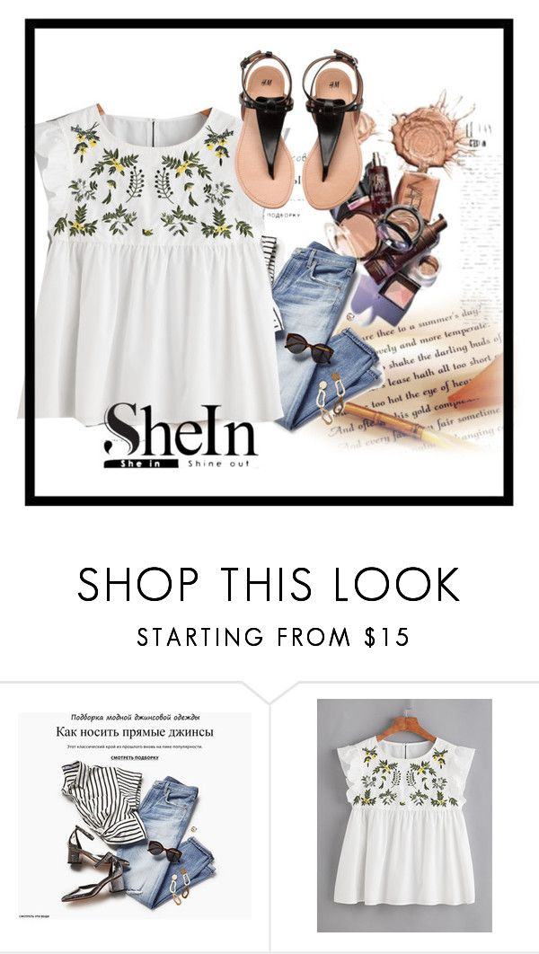 """""""Flower Embroidered Buttoned Keyhole Ruffle Babydoll Top"""" by anchesky23 ❤ liked on Polyvore"""