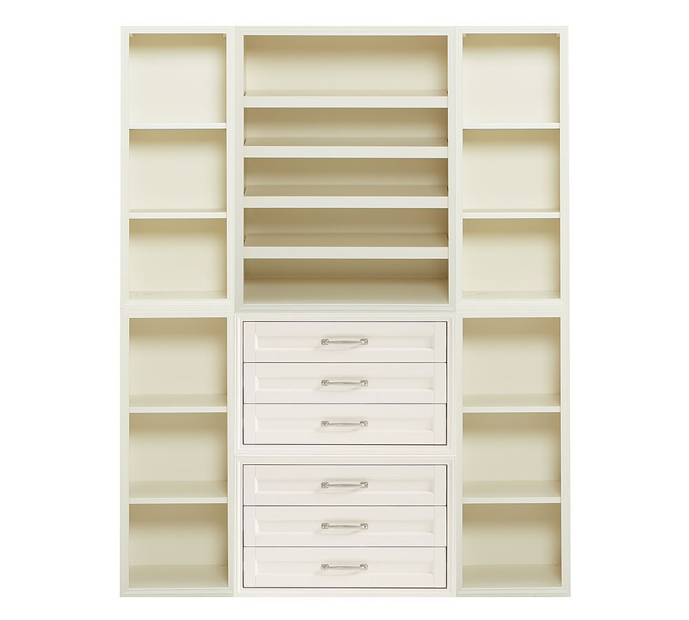 Sutton Closet Wide Shelf And Tall Tower Wall Set White