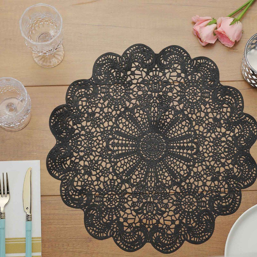 6 Pack 15 Black Vintage Floral Vinyl Placemats Non Slip Dining Table Placemats In 2020 Dining Table Placemats Lace Placemats Placemats