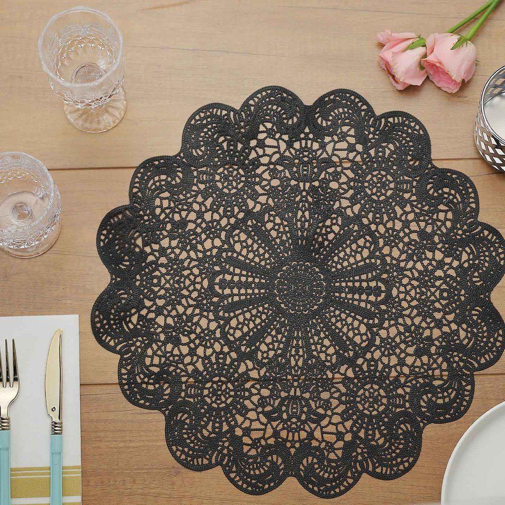 6 Pack 15 Black Vintage Floral Vinyl Placemats Non Slip Dining Table Placemats In 2020 Dining Table Placemats Lace Placemats Placemats