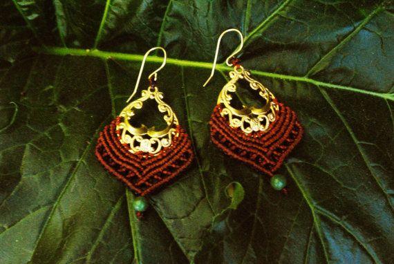 30% Off - Tribal earrings Macrame earrings Macrame Jewelry Turquoise earrings, Macrame hoop earring, Bohemian bride, Boho earrings, Macrame