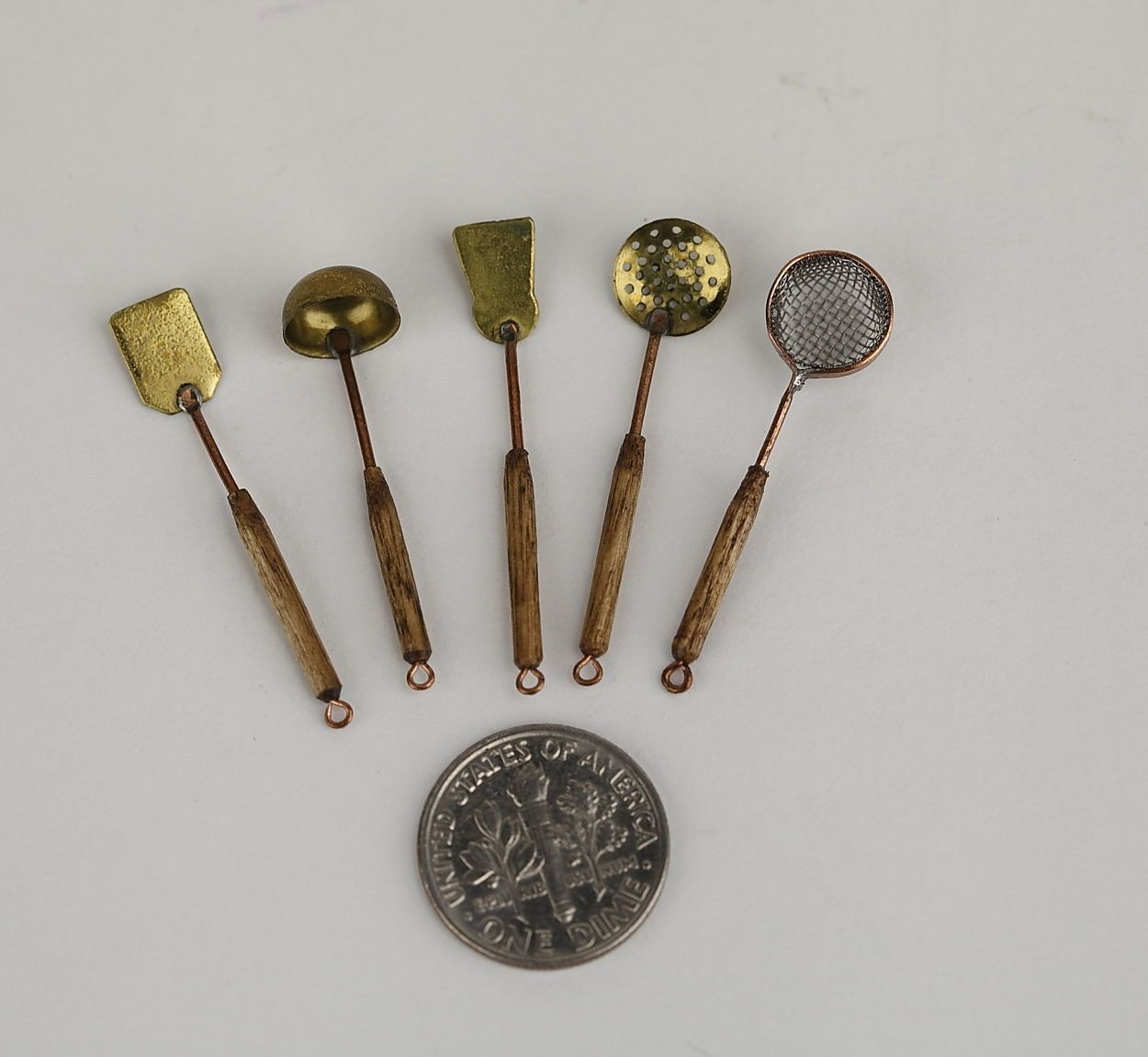 Miniature Kitchen Utensils Brick Backsplash 1 12 Mini Dollhouse Brass And Copper Cooking
