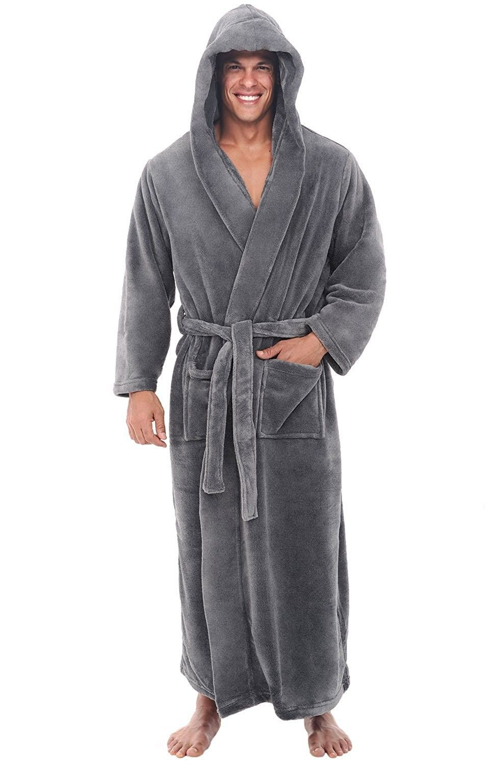 6d0792223d Mens fleece robe long hooded bathrobe steel grey dir nrn jpg 975x1500 Long  hooded robe men
