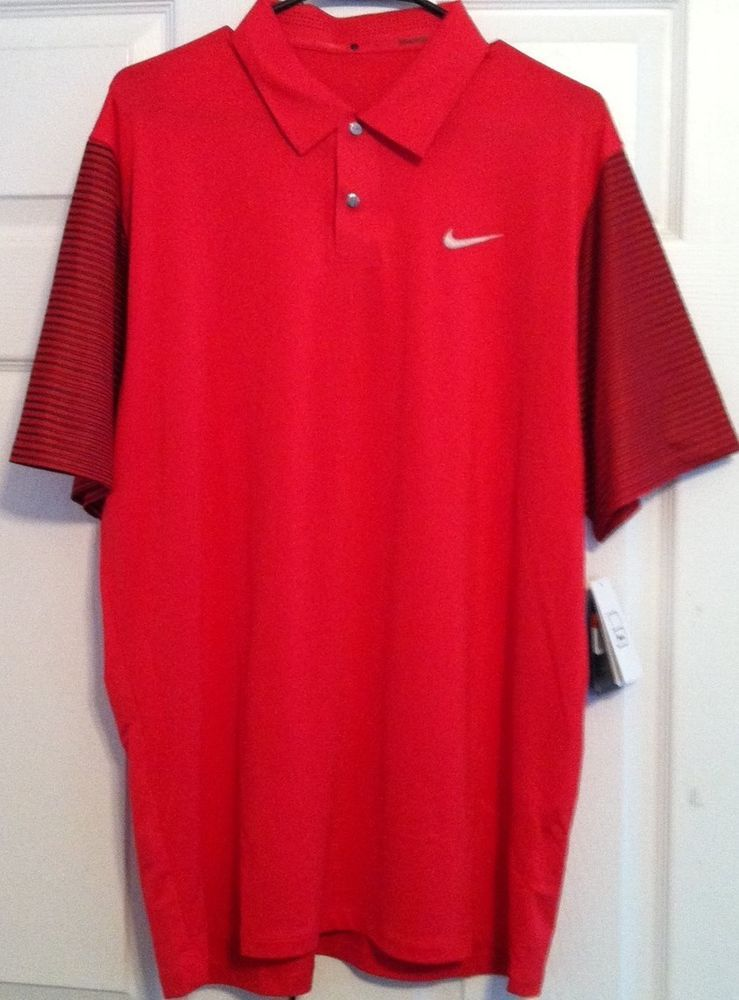 Tiger Woods Nike Golf Shirt, Red, Black, Silver, Large, NWT #Nike #TigerWoodsCollectionPoloShirt