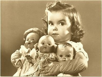 VINTAGE-1950s-CHILD-GIRL-ANTIQUE-BABY-DOLLS-SEPIA-PHOTO-CANVAS-ART-PRINT-LARGE