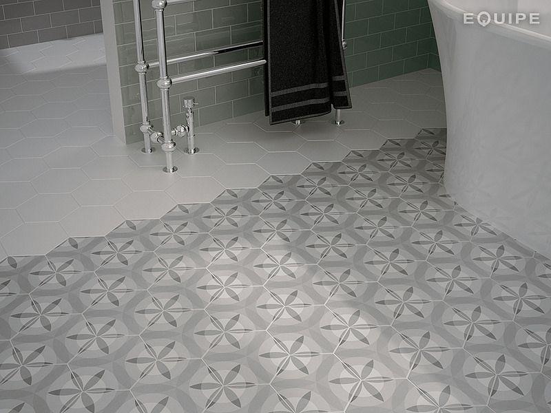 Hexatile White Harmony Nature B W 17 5x20 Hexagon Tiles Flooring Tile Bathroom