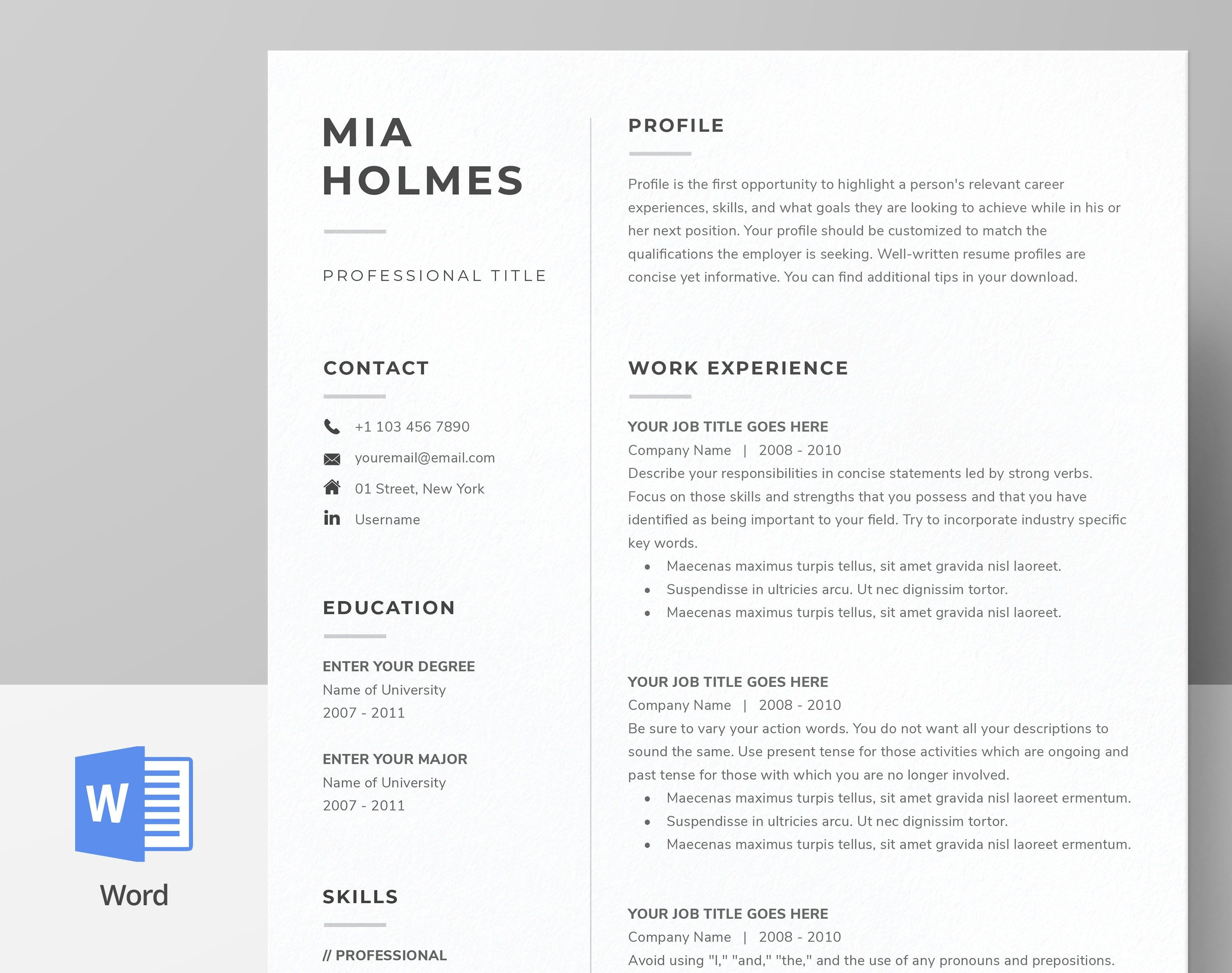 Resume Template for Word, Pages + Cover Letter Template