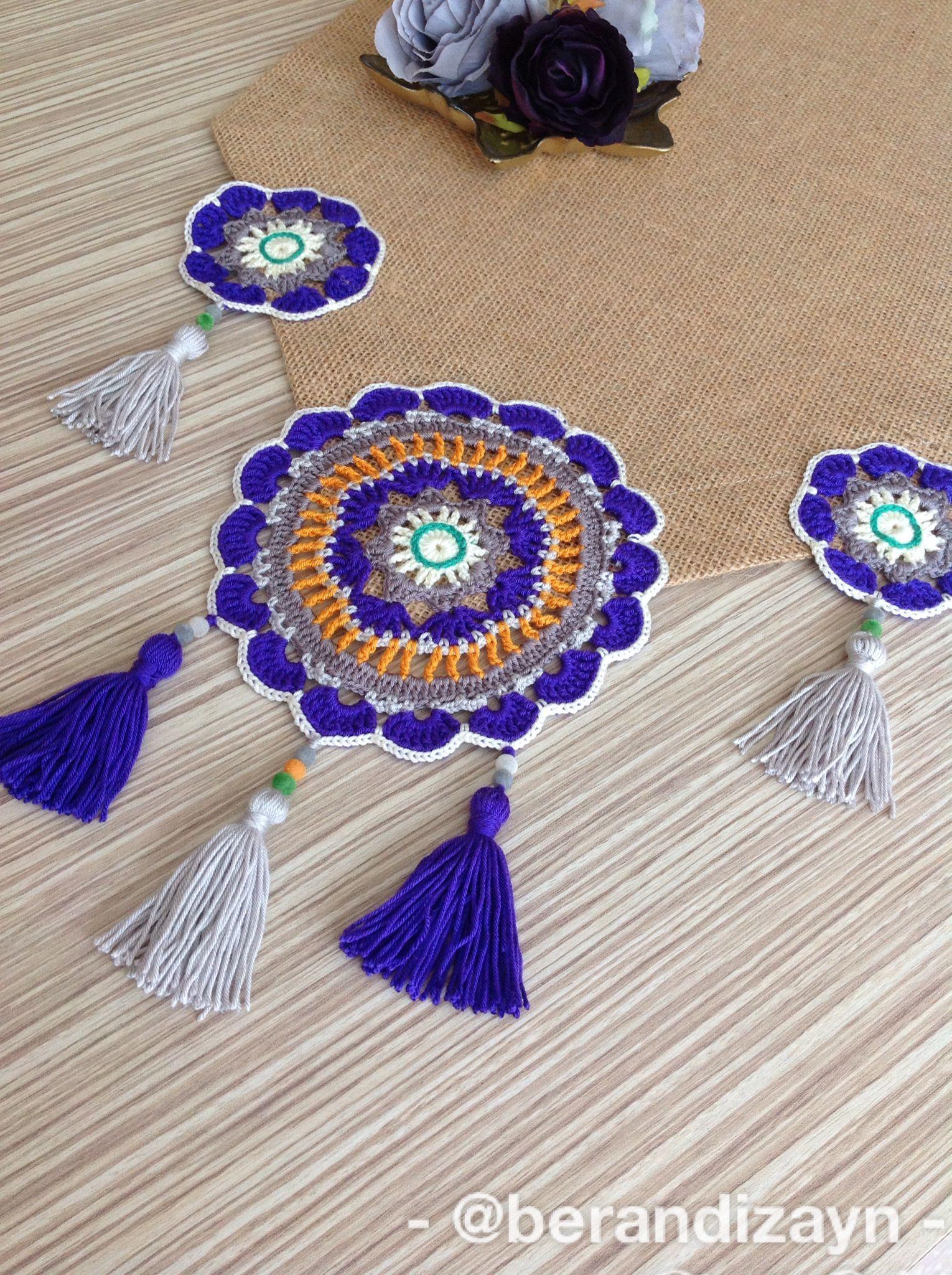 Ceyiz Crochet Knitting Mandala Motif Ortusu Runner Sehpa Runner Mandala Motif Sehpa Ortusu Knitting Crochet Ceyiz In 2020 Stricken Decke Tischdecke