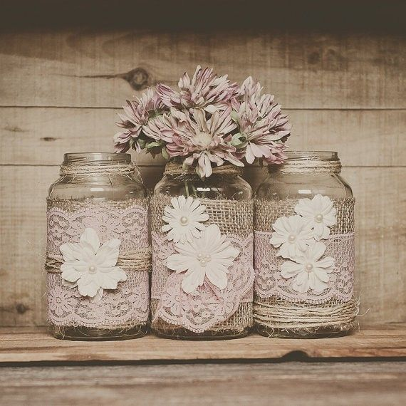 Burlap wedding mason jar centerpieces pastel pink lace