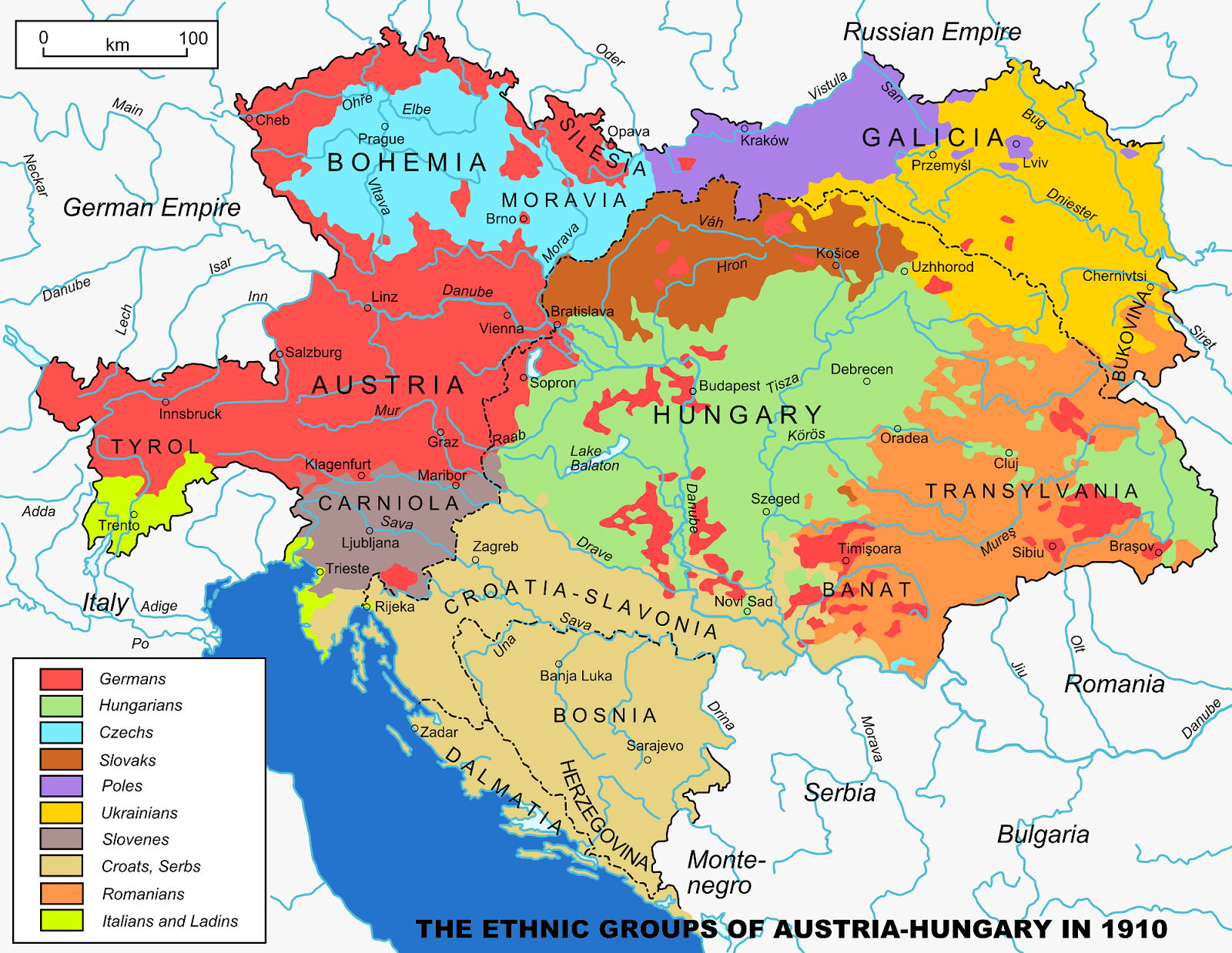 AustrianHungarian Empire 18671918 Ethnic groups map